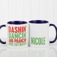 Funny Christmas Quote Personalized 11 Oz. Coffee Mug- Blue