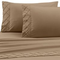 Jill Morgan Forever Soft Diamond Hem Twin Sheet Set in Taupe