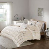 Intelligent Design Raina Twin/Twin XL Duvet Cover Set in Ivory/Gold