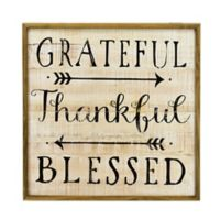 """Grateful"" 24-Inch Square Wood Wall Art"