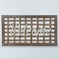 """Welcome"" 30.25-Inch x 16.75-Inch Wood and Metal Wall Art"