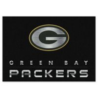 """NFL Green Bay Packers Chrome-Effect 3'10"""" x 5'4"""" Area Rug in Black"""
