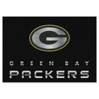 """NFL Green Bay Packers Chrome-Effect 5'4"""" x 7'8"""" Area Rug in Black"""