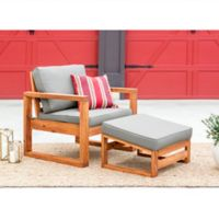 Forest Gate Otto Acacia Wood Patio Side Chair with Ottoman in Brown