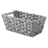 Whitmor Spit Rattique Small Shelf Tote Basket in Grey