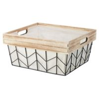 Whitmor Chevron Wire Medium Shelf Tote Basket with Border and Liner in Natural