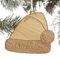 Santa Hat Personalized Wood Christmas Ornament