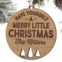 Merry Little Christmas Personalized Wood Christmas Ornament in Red