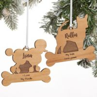 Pet Breed Personalized Wood Christmas Ornament in Natural Wood