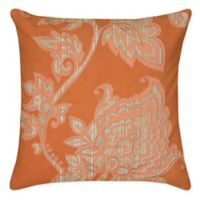 Rizzy Home Caning Floral Square Indoor/Outdoor Throw Pillow in Orange