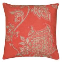 Rizzy Home Caning Floral Square Indoor/Outdoor Throw Pillow in Coral