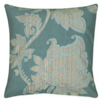 Rizzy Home Caning Floral Square Indoor/Outdoor Throw Pillow in Teal