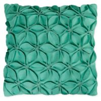 Rizzy Home Petals Solid Square Throw Pillow in Turquoise