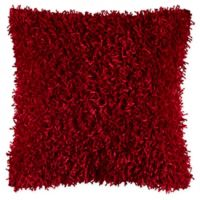 Rizzy Home String Shag Square Throw Pillow in Red