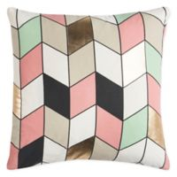Rizzy Home Metallic Geometric Square Indoor/Outdoor Throw Pillow in Grey/Pink