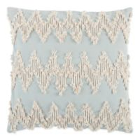 Rizzy Home Frayed Chevron Square Indoor/Outdoor Throw Pillow in Dust Blue