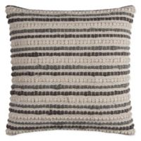 Rizzy Home Textured Stripe Square Throw Pillow in Ivory/Grey