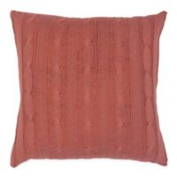 Rizzy Home Cable Knit Square Throw Pillow in Rust