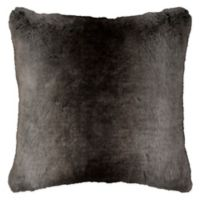 Rizzy Solid Fur Square Throw Pillow in Taupe