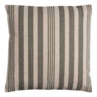 Rizzy Vertical Stripe Square Indoor/Outdoor Throw Pillow in Ivory/Grey