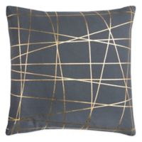 Rizzy Home Abstract Geometric Square Indoor/Outdoor Throw Pillow in Grey/Gold