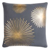 Rizzy Star Burst Square Indoor/Outdoor Throw Pillow in Grey/Gold