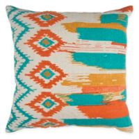Rizzy Abstract Stripe Square Indoor/Outdoor Throw Pillow in Natural/Teal