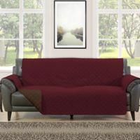 Morgan Home Barrett Micro-Fiber Reversible Sofa Slipcover in Burgundy/Brown