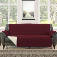 Morgan Home Barrett Micro-Fiber Reversible Sofa Slipcover in Burgundy/Cream