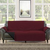 Morgan Home Barrett Micro-Fiber Reversible Sofa Slipcover in in Burgundy/Black