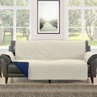 Morgan Home Barrett Micro-Fiber Reversible Sofa Slipcover in Cream/Navy