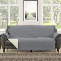 Morgan Home Barrett Micro-Fiber Reversible Sofa Slipcover in Grey/Cream