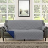 Morgan Home Barrett Micro-Fiber Reversible Sofa Slipcover in Grey/Navy