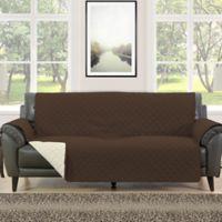 Morgan Home Barrett Micro-Fiber Reversible Sofa Slipcover in Brown/Cream