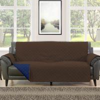 Morgan Home Barrett Micro-Fiber Reversible Sofa Slipcover in Brown/Navy