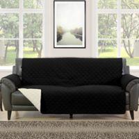 Morgan Home Barrett Micro-Fiber Reversible Sofa Slipcover in Black/Cream