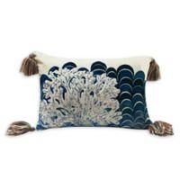 Beaded Coral Velvet Oblong Throw Pillow