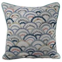 Multi Fan Embroidered Square Throw Pillow in White