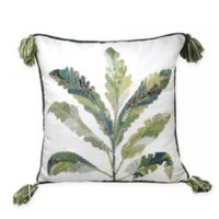 Center Palm Leaves Square Throw Pillow in White