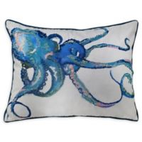 Octopus Embroidered Oblong Pillow in White