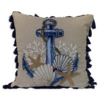 Anchor Indoor/Outdoor Square Throw Pillow in Natural/Blue