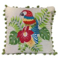 Parrot Embroidered Indoor/Outdoor Square Throw Pillow in Natural/Green