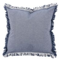 KAF Home Rustic Raw Edge Square Throw Pillow in Navy