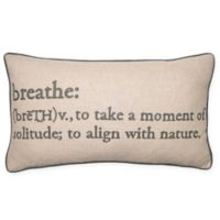 Breathe Definition Oblong Throw Pillow in Grey
