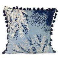 Coral with Tassel Square Indoor/Outdoor Throw Pillow in Blue