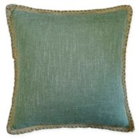 Textured Solid Square Throw Pillow with Jute Border in Green