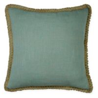 Textured Solid Square Throw Pillow with Jute Border in Blue