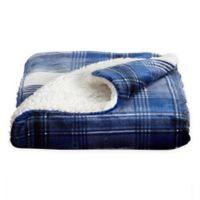 Berber Plaid Reversible Throw Blanket in Navy