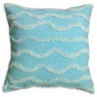 Metallic Waves Square Indoor/Outdoor Throw Pillow in Sage