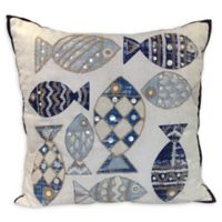 Multi Fishes Square Indoor/Outdoor Throw Pillow in Natural/Blue